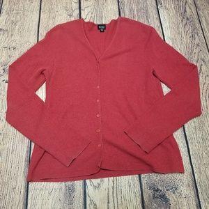 Women's Red Eileen Fisher Button Up Sweatshirt M